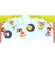 rope swing happy cute children hang vector image vector image