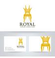 royal chair furniture logo design vector image vector image