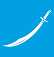 scimitar sword icon white vector image vector image