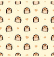 seamless cute hedgehog with heart pattern vector image