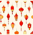 seamless pattern with chinese street lanterns on vector image