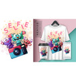 selfie monster - mockup for your idea vector image vector image