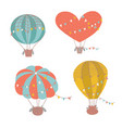 set different shapes cute hot air balloon vector image