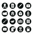 set of black silhouettes of business icons in vector image
