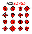 set various red pixel flowers vector image vector image