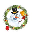 snowman with a bell in a christmas wreath vector image vector image