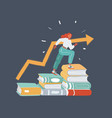 student sitting on stack books vector image vector image