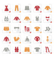 stylized clothing and fashion collection icons vector image