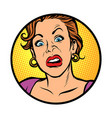 symbol icon woman with a funny surprised face vector image