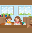 two young girls studying at home vector image