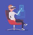 vr woman and virtual interface vector image vector image