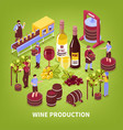 wine production isometric vector image vector image