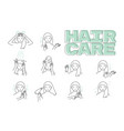 woman take care about her hair steps how to apply vector image vector image