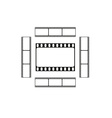 Cinema logo movie theater sign film strips card vector image