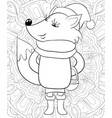adult coloring bookpage a cute cartoon fox with vector image