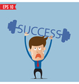 Business man lifting success barbell - - EPS vector image vector image