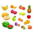 cartoon fruit natural ripe fresh food icons vector image
