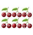 cherry with different emoticon vector image vector image