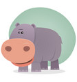 cute cartoon hippo vector image vector image
