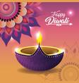 diwali vassel lit with mandala and lights vector image