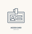 employee access card identity flat line vector image