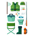 fishing collection equipment for fisherman hobby vector image vector image