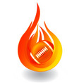 football on fire logo vector image