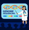 genome sequencing concept female scientist makes vector image vector image