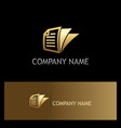 gold document paper business logo vector image vector image