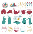 happy easter collection with funny elements vector image vector image