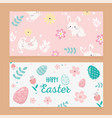 happy easter day greeting eggs rabbit decoration vector image