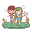 happy little kids reading books in the landscape vector image