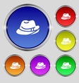 hat icon sign Round symbol on bright colourful vector image vector image