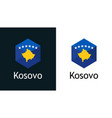 icon kosovo flag on black and white vector image vector image
