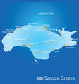 island of samos in greece map in colorful vector image vector image