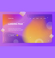landing page template on abstract color background vector image vector image