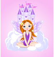 Little cute fairy and a castle vector image vector image
