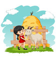 little girl and goat on farm vector image vector image