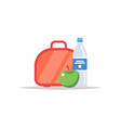 lunchbox - meal container with water and an apple vector image