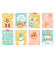 merry christmas set of winter holidays posters vector image vector image