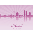 Munich skyline in purple radiant orchid vector image vector image
