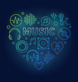 music heart colored in thin vector image vector image