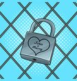 padlock with heart pop art vector image