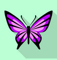 purple butterfly icon flat style vector image vector image
