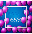 Realistic purple balloons with black ribbon in vector image