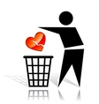 Recycling sign and broken heart vector image vector image