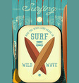 retro surfing poster vector image vector image