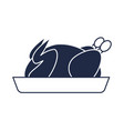 roasted chicken on plate icon vector image vector image