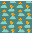Seamless birds and clouds pattern vector image vector image