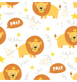 seamless pattern cute lion with crown vector image vector image